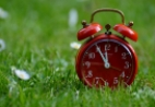 A red alarm clock on grass